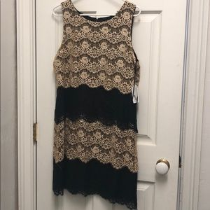 NWT Jessica Simpson black cream lace work dress 12